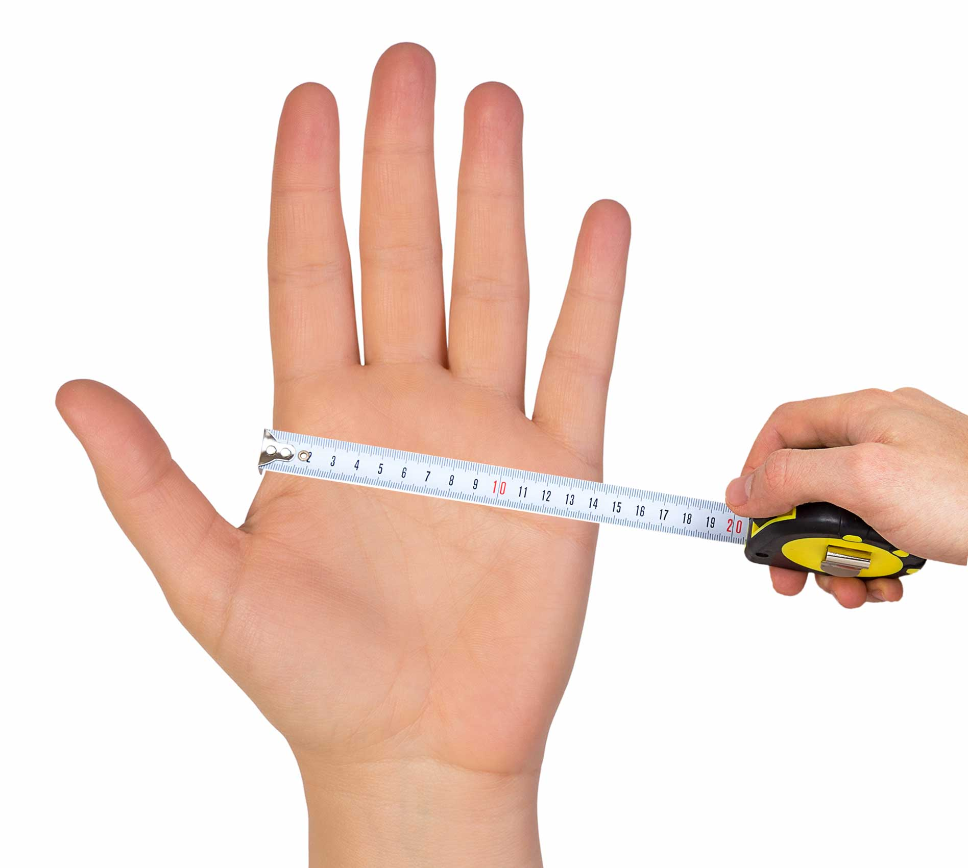 Image of measuring a hand for DermaCura Size Guide